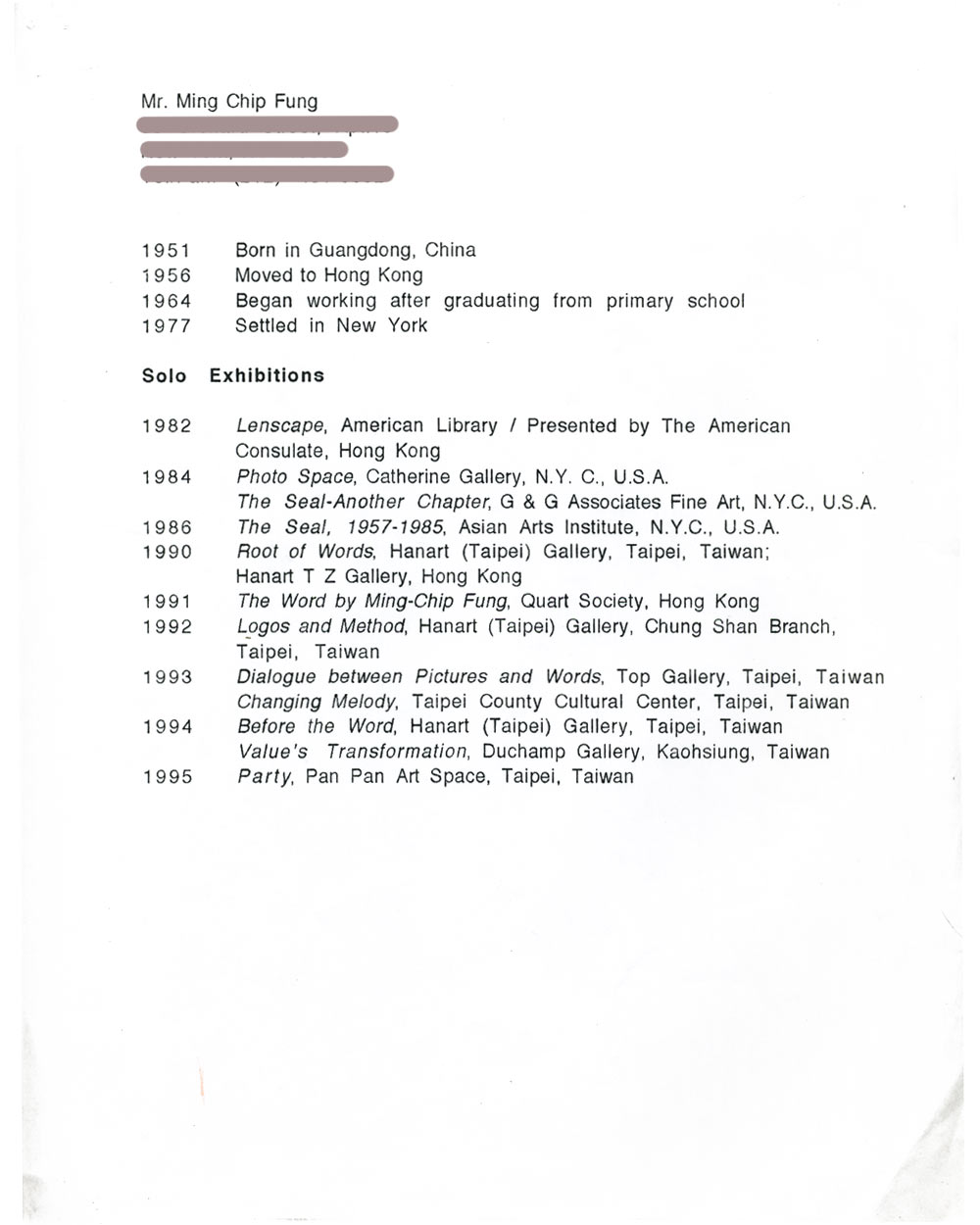 Ming Chip Fung's resume, pg 1